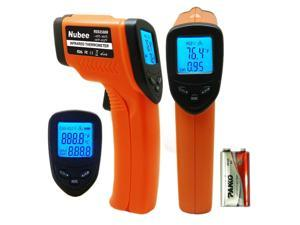 Nubee Non-Contact Infrared (IR) Thermometer ( -58 F to 932 F) w/ Laser Sight MAX Display and Emissivity Adjustable