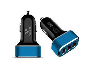 Volmate® 6.6A / 33W Portable Travel Charger Rapid 3 USB Ports Car Charger With Smart Sharing IC Apple MFI Certified (Black+Blue)