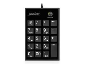 Perixx PERIPAD-202UB, Numeric Keypad for Laptop - USB - Tab Key Feature - Full Size 19 Keys - Big Print Letters - Silent X Type Scissor Keys - Black