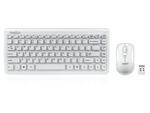 """Perixx PERIDUO-707W PLUS, Wireless Mini Keyboard and Mouse Combo - Piano White - 12.60""""x5.55""""x0.98"""" Dimension - Brand Batteries Included - 128 Bit AES Encryption"""