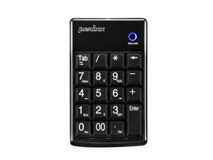 Perixx PERIPAD-602, Wireless Numeric Keypad for Laptop - Tab Key Feature - Big Print Letters - Nano Receiver with Storage Compartment - Black
