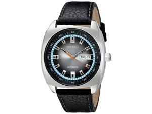 Seiko Mechanical Day/Date Black Leather and Silver-Tone Stainless Steel Men's watch #SNKN01