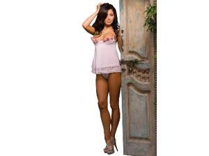 Rosette Trim Babydoll With Thong (Pink) Size Large