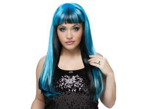 Natural Neon (Black/Blue) Wig Adult Accessory