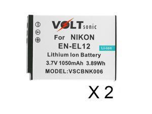 Voltsonic 1050mAh Li-Ion Rechargeable Digital Camera Battery for Nikon EN-EL12 - 2 Pack