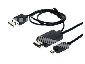 5.9 Ft 1.8M MHL 2 Cable Micro USB to HDMI for Samsung Galaxy S5 GS5 G900 G9000 LTE Note 3 III N900 N900 LTE N9000 to HDTV Plasma Flat TV Display 1080P -OEM