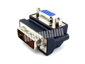 90 270 Degree Right Angle D-Sub 15 Pin VGA Female to 24+5 Pin DVI Male Connector Adapter Converter Extender VGA Female to DVI Male OEM
