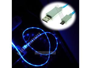Blue 3 Feet Micro USB Male to USB Male Illuminating Cable Data Sync and Charge for Samsung Galaxy S3 S4 Siv i9500 i9505 LTE I337 L720 M919 I545 Note 2 II 3 III 8.0 Tab 3 III Optimus G Xperia Z HTC