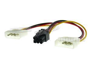 2 Molex to 6 Pin PCI E Adapter Cable 6 Pin Female to 2 x 4 Pin Male Computer Power Cord Splitter