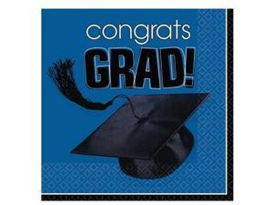 Congrats Grad Blue Graduation Lunch Napkins