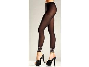 Opaque Footless Pantyhose with Studded Cuffs