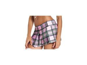 Be Wicked Pink Plaid Pleated Mini Skirt BW830PK Pink Medium/Large