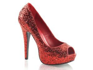 Women's Platform Glitter Peep Toe Pump Shoes