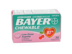 BAYER  ASPIRIN REGIMEN CHEWABLE ASPIRIN PAIN RELIEVER CHERRY 81 MG 36 TABLETS