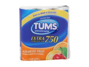 TUMS  EXTRA STRENGTH 750 ANTACID WITH CALCIUM ASSORTED FRUIT 24 CHEWABLE TABLETS