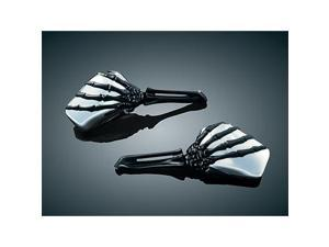 Kuryakyn 1764 Skeleton Hand Mirrors Chrome Head with Black Stem for Harley