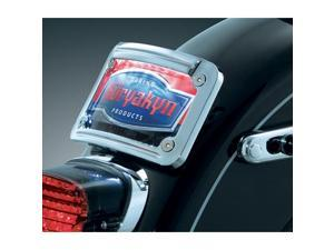 Kuryakyn 3138 Chrome Lighted Curved Laydown Plate Mount (ea) for All Harley-Davidson model with standard 3-bolt mounted license plate bracket (except Rocker/C) by KURYAKYN