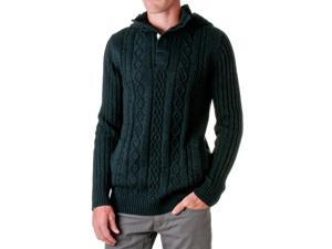 D-LUX Men's Cotton Cable-Knit Hooded Sweater, Black, Size Small