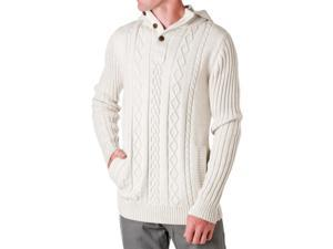 D-LUX Men's Cotton Cable-Knit Hooded Sweater, Natural, Size Medium