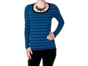 FEMME by Tresics Women's Long Sleeve Scoop Neck Top, Blue/Black, Size Large
