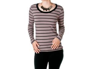 FEMME by Tresics Women's Long Sleeve Scoop Neck Top, Cocoa/Black, Size X-Large
