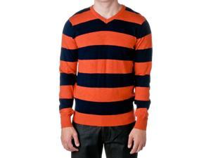 JORDAN CRAIG Men's Legacy Cotton Striped V-Neck Sweater, Orange, Size X-Large