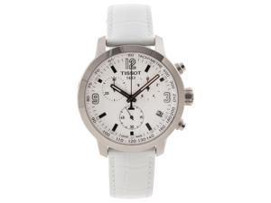 Tissot PRC 200 Chrono White Dial White Leather Steel Mens Watch T0554171601700