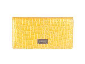 Kenneth Cole Reaction Womens Faux Croc Patent Wallet, Lemon