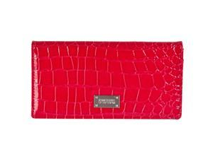 Kenneth Cole Reaction Womens Faux Croc Patent Wallet, Red