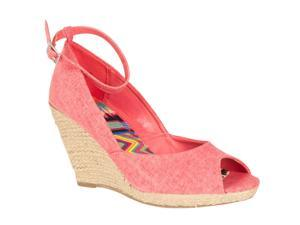 Bamboo Womens Astrid Ankle Strap Peep Toe Wedges, Melon, Size 7.5