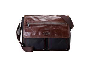 Fossil Mens Transit Leather and Nylon Messenger Bag MBG8252001