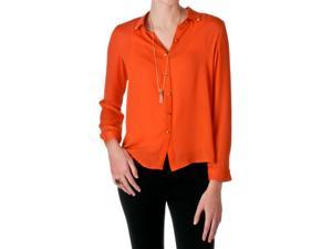 Freebird by Tresics Juniors Long Sleeve Button Down Top, Orange, Size Large