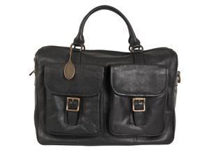Fossil Estate Leather Top Zip Work Bag, Black