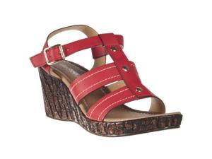 Pinky Womens Brody Faux Bark Platform Wedge Strappy Sandal, Red, Size 7.5