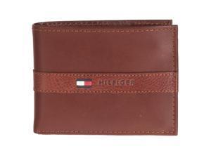 Tommy Hilfiger Mens Passcase Bi-fold Leather Wallet, Tan