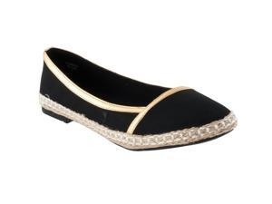 Pinky Womens Flora Microsuede Casual Flats, Beige, Black, Size 6