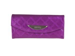 Kenneth Cole Reaction Womens Patent Quilted Tri-fold Clutch, Amethyst