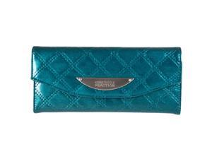 Kenneth Cole Reaction Womens Patent Quilted Tri-fold Clutch, Bondi Blue