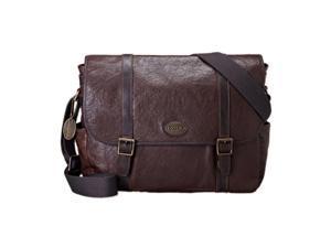 Fossil Mens Estate Leather Messenger Bag MBG8262, Dark Brown