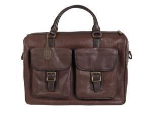 Fossil Estate Leather Top Zip Work Bag, Dark Brown