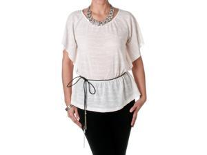 Route 3 Women's Sheer Jacquard Top, Ivory, Size Medium