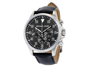 Michael Kors Men's Gage Black Leather Chronograph Watch
