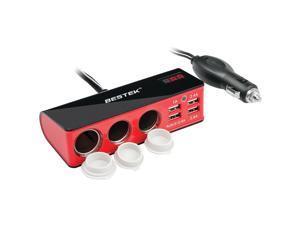 BESTEK MRS203BU 200-Watt Car Cigarette Lighter Adapter with Three 12-Volt & 4 USB Outlets