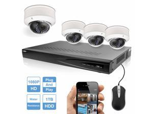 R-Tech 4 x 2MP(1080P) High Defination Dome IP Cameras Security System, 8 Channel NVR With 1TB HDD Installed, Built-in PoE Plug and Play, Compatible with Hikvision Onvif Protocol