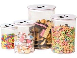 Oggi Stack 'N Store 4 Piece Canister Set, White