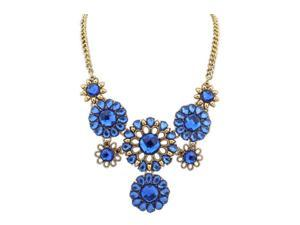 Womens Crystal Sun Flowers Charm Pendant Necklace Blue
