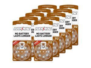 Hearing Aid Battery L312ZA-8ZM/80 Rayovac 80pk, Size 312, Mercury Free