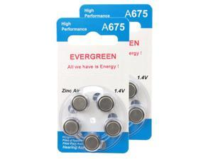 Hearing Aid Battery A675/B10 Evergreen 10pk, Size 675, 1.4V