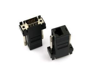2pcs VGA Extender Male to LAN CAT5 CAT5e RJ45 Female Adapter