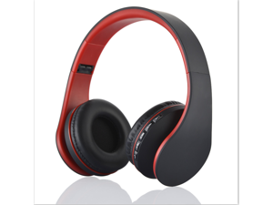Bluetooth stereo headset headphone with FM stereo radio/wired headphone/MP3 player answer/end calling red+black color + 8GB  card